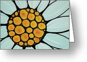 Sharon Cummings Prints Greeting Cards - Daisy Greeting Card by Sharon Cummings