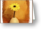 Caramel Greeting Cards - Daisy Yellow Greeting Card by Marsha Heiken