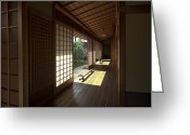 Shoji Screen Greeting Cards - Daitoku-ji Zen Temple Veranda - Kyoto Japan Greeting Card by Daniel Hagerman