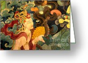 Tibetan Buddhism Greeting Cards - Dakini with Nagas - Sera Monastery Tibet Greeting Card by Craig Lovell
