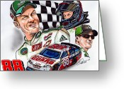 Dale Earnhardt Jr Drawings Greeting Cards - Dale Earnhardt Jr. - #88 Greeting Card by Dave Olsen