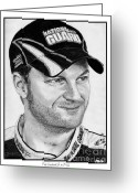 Dale Earnhardt Jr Drawings Greeting Cards - Dale Earnhardt Jr in 2009 Greeting Card by J McCombie