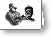 Black And White Photos Drawings Greeting Cards - Dale Earnhardt Sr. Greeting Card by Patrick Payton