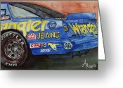 1987 Painting Greeting Cards - Dale Earnhardts 1987 Chevrolet Monte Carlo Aerocoupe No. 3 Wrangler  Greeting Card by Anna Ruzsan