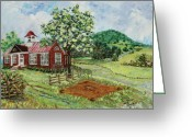 Schoolhouse Painting Greeting Cards - Dale Enterprise School Greeting Card by Judith Espinoza