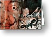 Portrait Greeting Cards - Dali and his cat Greeting Card by Paul Lovering