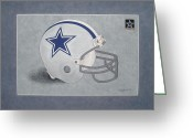 Dallas Cowboys Painting Greeting Cards - Dallas Cowboys Helmet Greeting Card by Herb Strobino