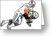 Santonio Holmes Greeting Cards - Dallas Cowboys Sean Lee - New York Jets Santonio Holmes Greeting Card by Jack Kurzenknabe