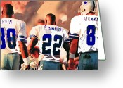 Emmit Smith Greeting Cards - Dallas Cowboys Triplets Greeting Card by Paul Van Scott