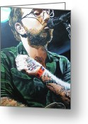 Face Greeting Cards - Dallas Green Greeting Card by Aaron Joseph Gutierrez