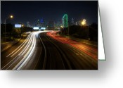 Interstate Greeting Cards - Dallas Night light Greeting Card by Jonathan Davison