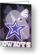 Dallas Cowboys Painting Greeting Cards - Dallas vs Philadelphia Greeting Card by Audrey Thompson