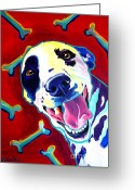 Dawgart Greeting Cards - Dalmatian - Yum Greeting Card by Alicia VanNoy Call