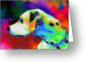 Dog Portrait Digital Art Greeting Cards - Dalmatian Dog Portrait Greeting Card by Svetlana Novikova