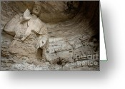 Archaeology Archeological Greeting Cards - Damaged Buddha statue carved inside the ancient Yungang Grottoes Greeting Card by Sami Sarkis