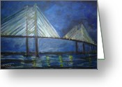 Dames Greeting Cards - Dames Point Bridge  Greeting Card by Deborah  Reid 