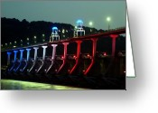 Bridge Greeting Cards - Damm River Bridge Greeting Card by Kenna Westerman