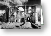 Silver Moonlight Greeting Cards - Dammarie les Lys Abbey Greeting Card by Simon Marsden