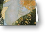 Signed Greeting Cards - Danae Greeting Card by Gustav Klimt