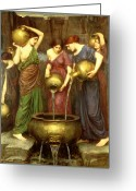 Pouring Greeting Cards - Danaides Greeting Card by John William Waterhouse