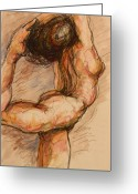 Nude Mixed Media Greeting Cards - Dance after Rodin Greeting Card by Dan Earle