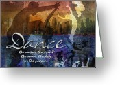 Men Greeting Cards - Dance bright colors Greeting Card by Evie Cook