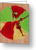 Signed Greeting Cards - Dance Circle Greeting Card by Ikahl Beckford