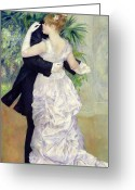Pierre Auguste (1841-1919) Greeting Cards - Dance in the City Greeting Card by Pierre Auguste Renoir