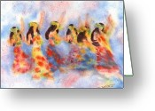 Dancer Art Greeting Cards - Dance Of Paradise Greeting Card by John Yato