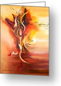 Fire Dance Painting Greeting Cards - Dance of Passion Greeting Card by Michelle Wiarda