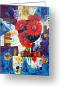 Red Abstract Greeting Cards - Dance of the Daisies Greeting Card by Terry Honstead