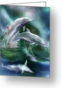 Sea Life Art Greeting Cards - Dance Of The Dolphins Greeting Card by Carol Cavalaris