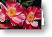 Fushia Greeting Cards - Dance of the Peonies Greeting Card by Billie Colson