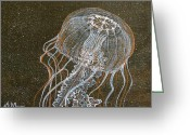 Sea Nettle Painting Greeting Cards - Dance of the Sea Nettle Greeting Card by Aimee Mouw