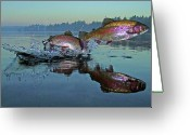 New York New York Com Greeting Cards - Dance Of The Trout Greeting Card by Brian Pelkey