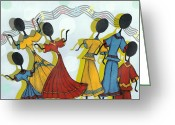 Reception Painting Greeting Cards - Dance On Greeting Card by Karen-Lee