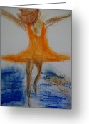 Dave Pastels Greeting Cards - Dance on the Water Greeting Card by Laurette Escobar