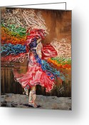 Fire Dance Painting Greeting Cards - Dance through the color of life Greeting Card by Karina Llergo Salto