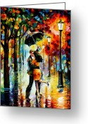 Afremov Greeting Cards - Dance Under The Rain Greeting Card by Leonid Afremov