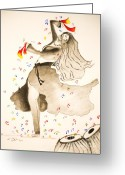 Belly Dance Greeting Cards - Dance with veil Greeting Card by Jalal Gilani