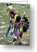 Black Elk Greeting Cards - Dancer 135 Greeting Card by Chris Brewington