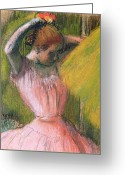 Rehearsal Greeting Cards - Dancer arranging her hair Greeting Card by Edgar Degas