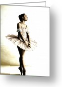 Pointe Greeting Cards - Dancer at Peace Greeting Card by Richard Young