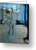 Studio Painting Greeting Cards - Dancer in Front of a Window Greeting Card by Edgar Degas