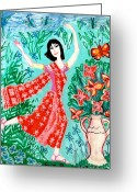 Sue Burgess Ceramics Greeting Cards - Dancer in red sari Greeting Card by Sushila Burgess