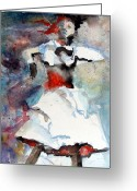 White Dress Drawings Greeting Cards - Dancer Greeting Card by Mindy Newman
