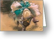 Tying Shoe Greeting Cards - Dancer Tying Her Shoe Ribbons Greeting Card by Edgar Degas