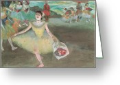 Bowing Greeting Cards - Dancer with a Bouquet Bowing Greeting Card by Edgar Degas