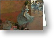 Dancers Greeting Cards - Dancers Ascending a Staircase Greeting Card by Edgar Degas