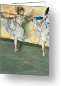 Chalk Pastels Greeting Cards - Dancers at the bar Greeting Card by Edgar Degas